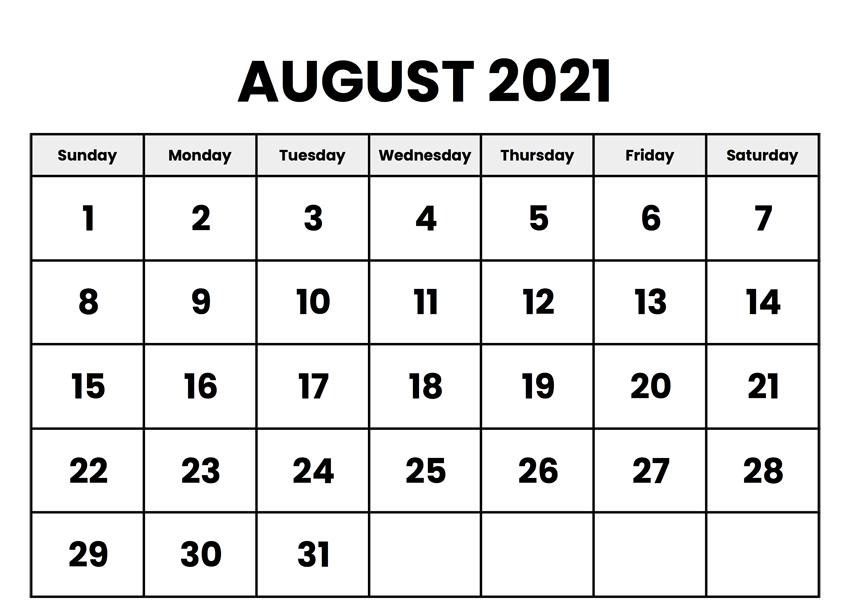 Blank August 2021 Calendar Template