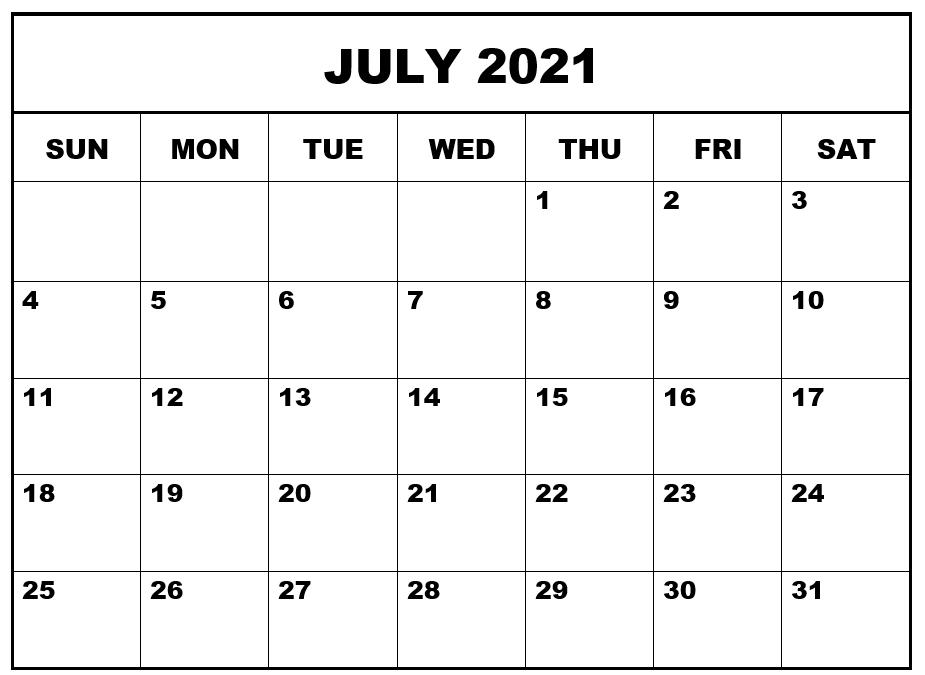 Blank July 2021 Printable Calendar