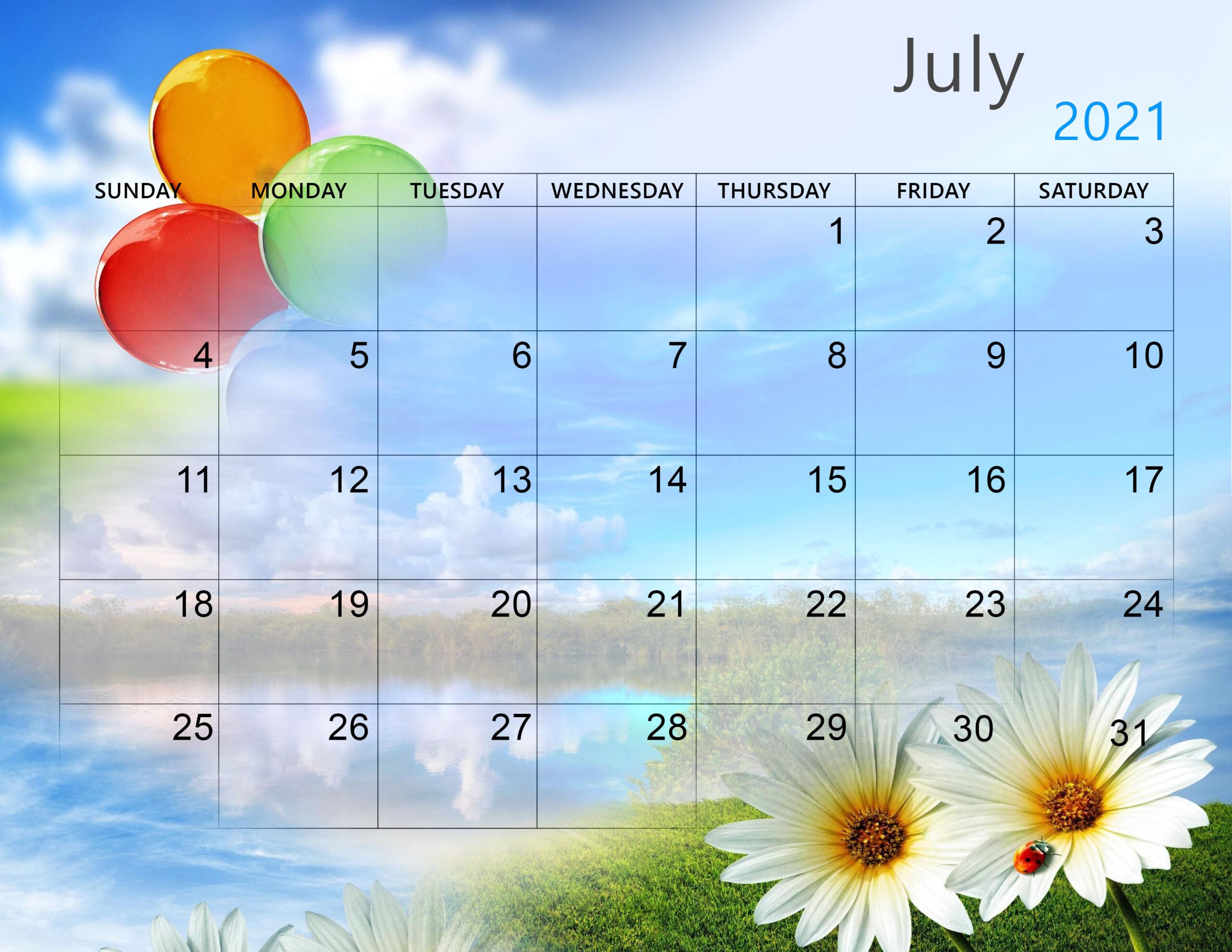 Cute July 2021 Calendar Print