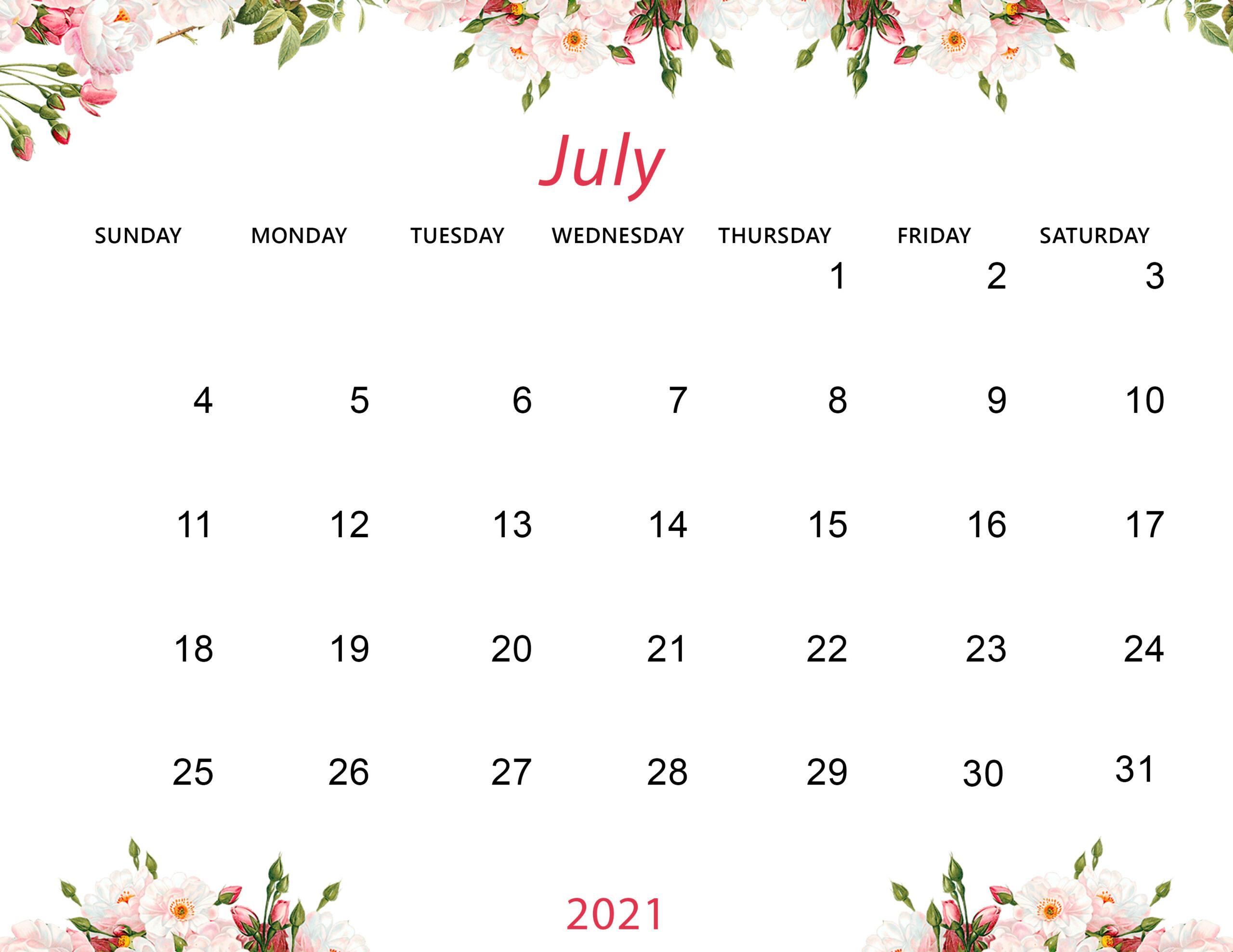 Desktop Calendar Wallpaper For July 2021