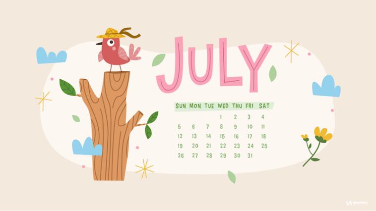 Floral July 2021 Desktop Calendar Wallpaper