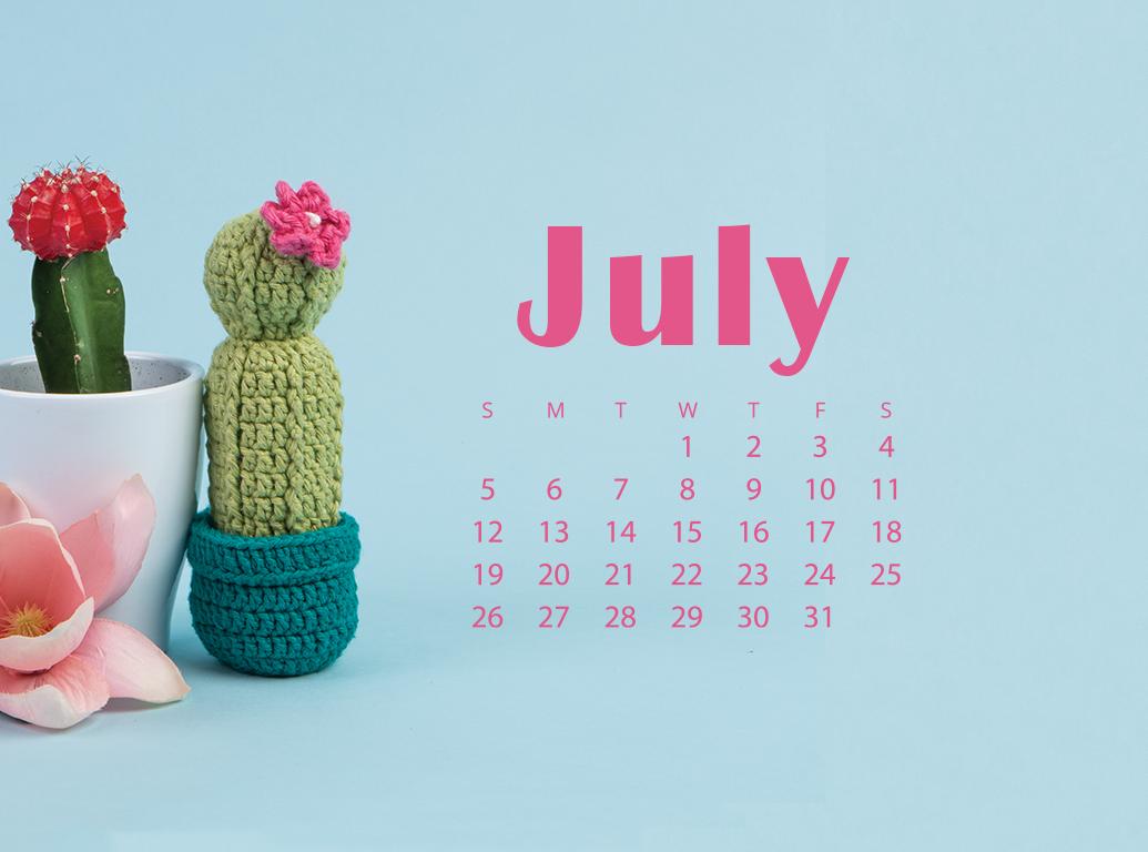 Floral July 2021 iPhone Calendar