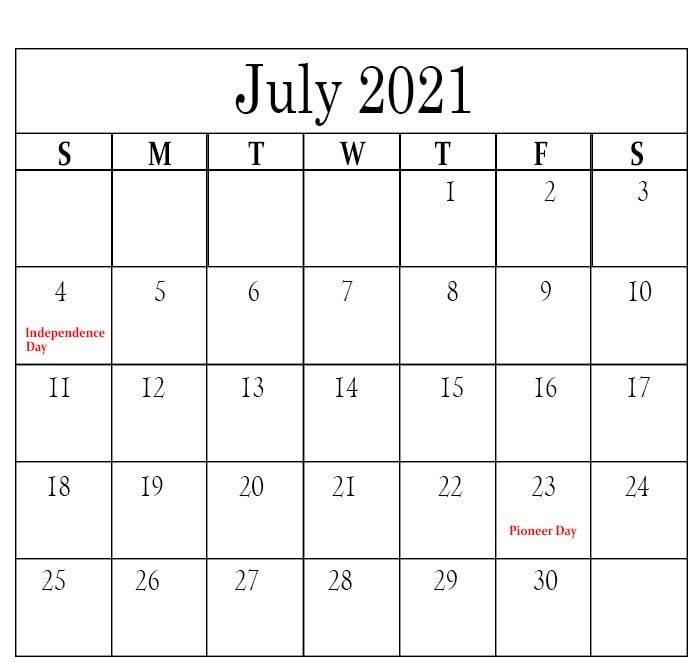 Free July 2021 Calendar Holidays