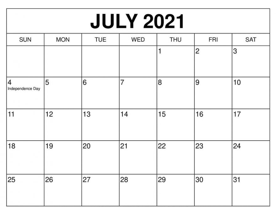 Free July Calendar 2021 With Holidays