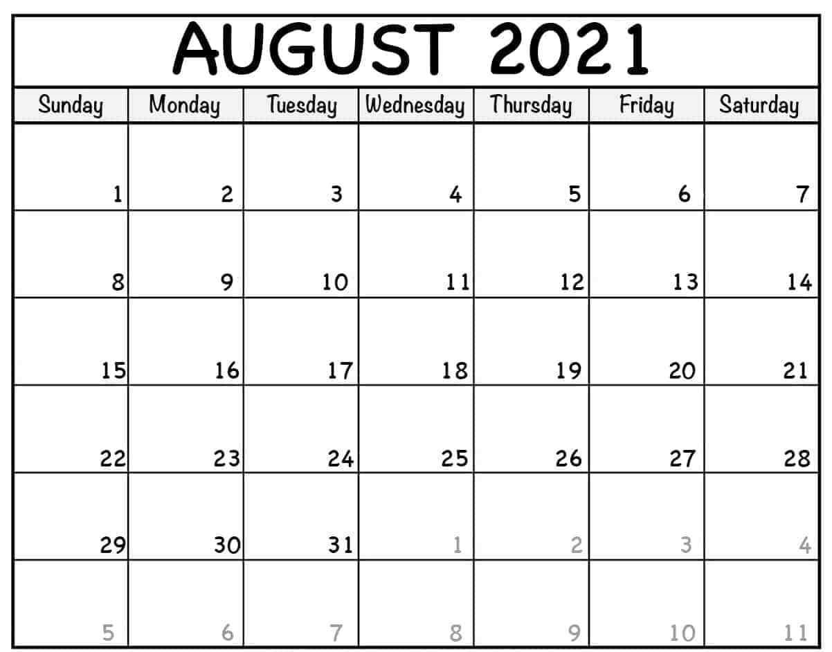 Free Printable August 2021 Calendar Template