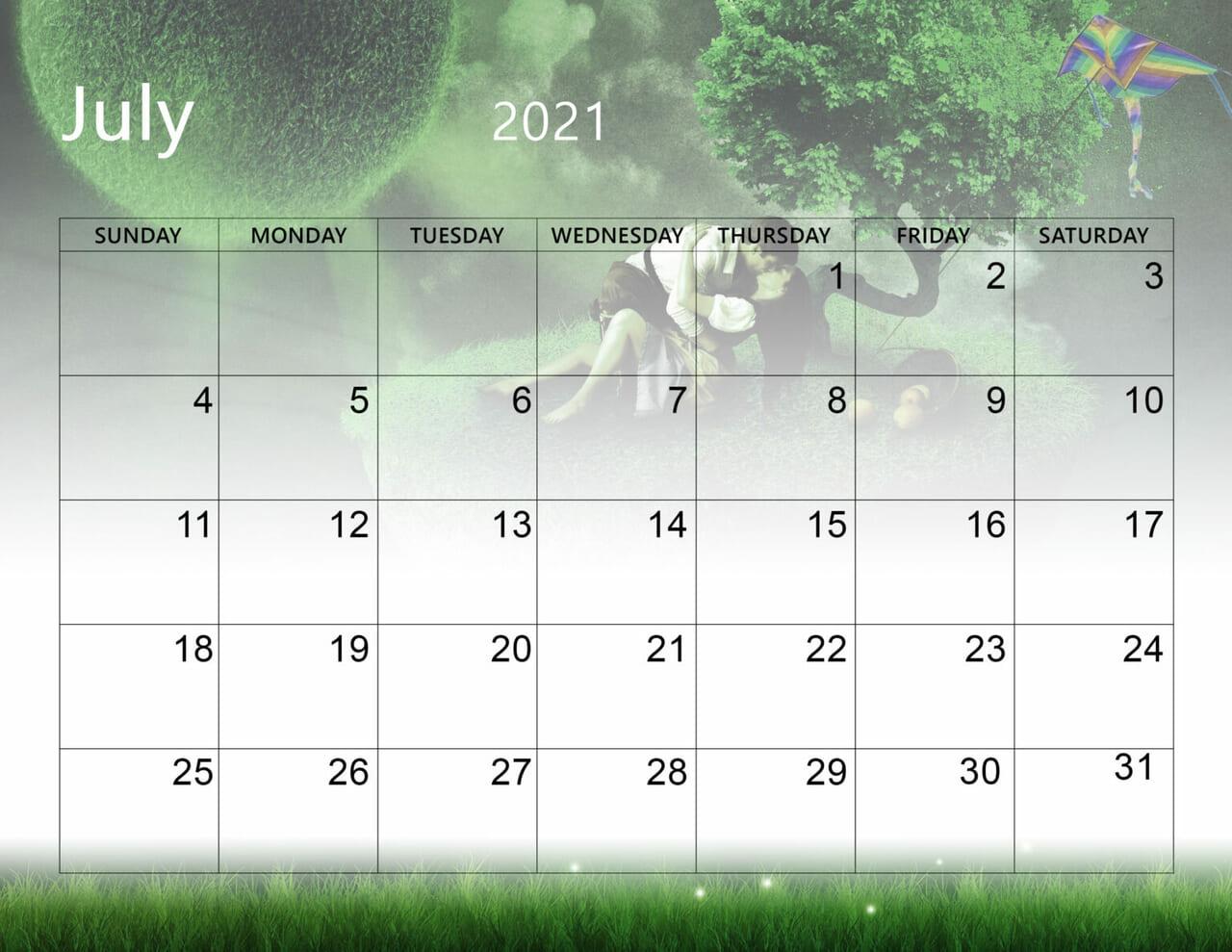 Inspirational July 2021 Calendar Wallpaper