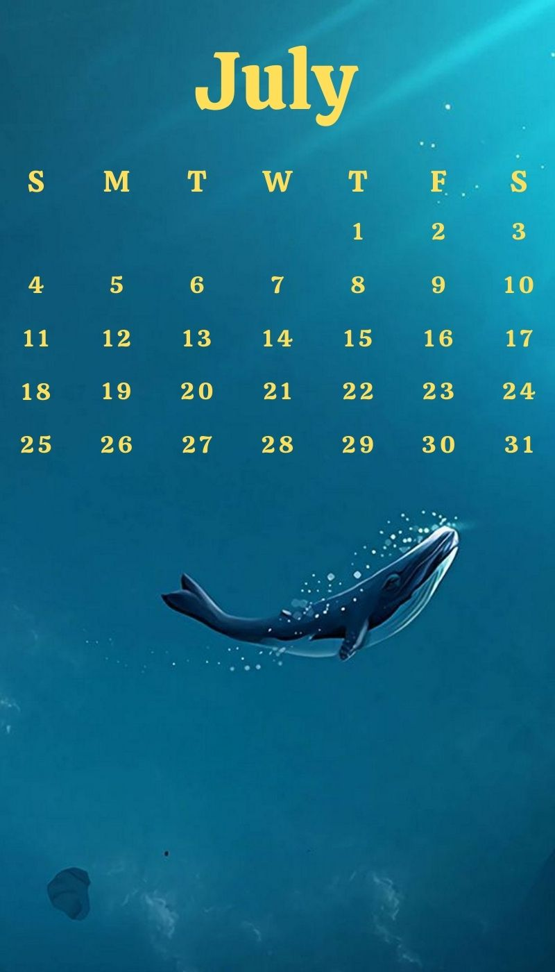 July 2021 Mobile Calendar Wallpaper