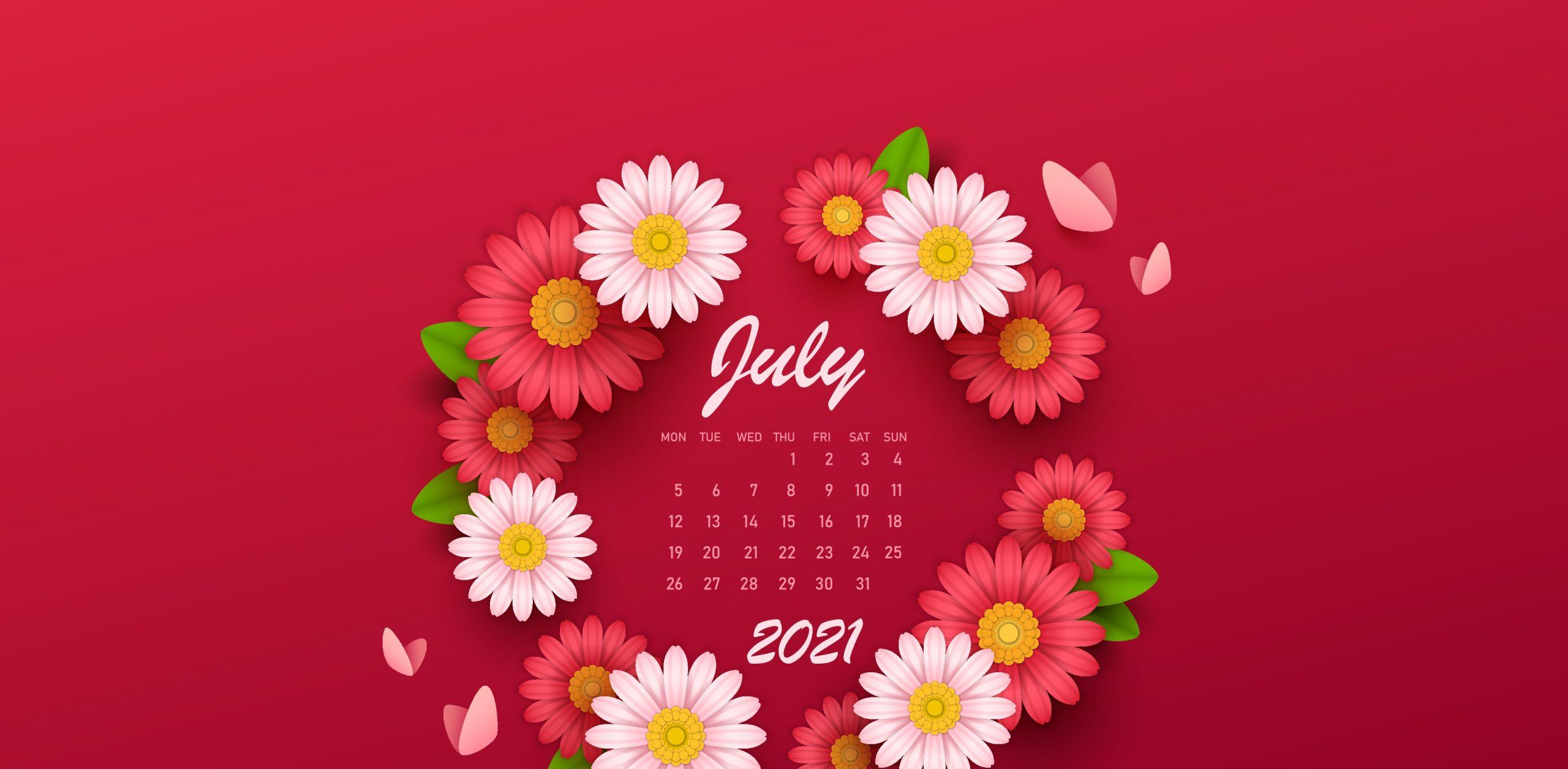 July 2021 Screensaver Calendar Wallpaper