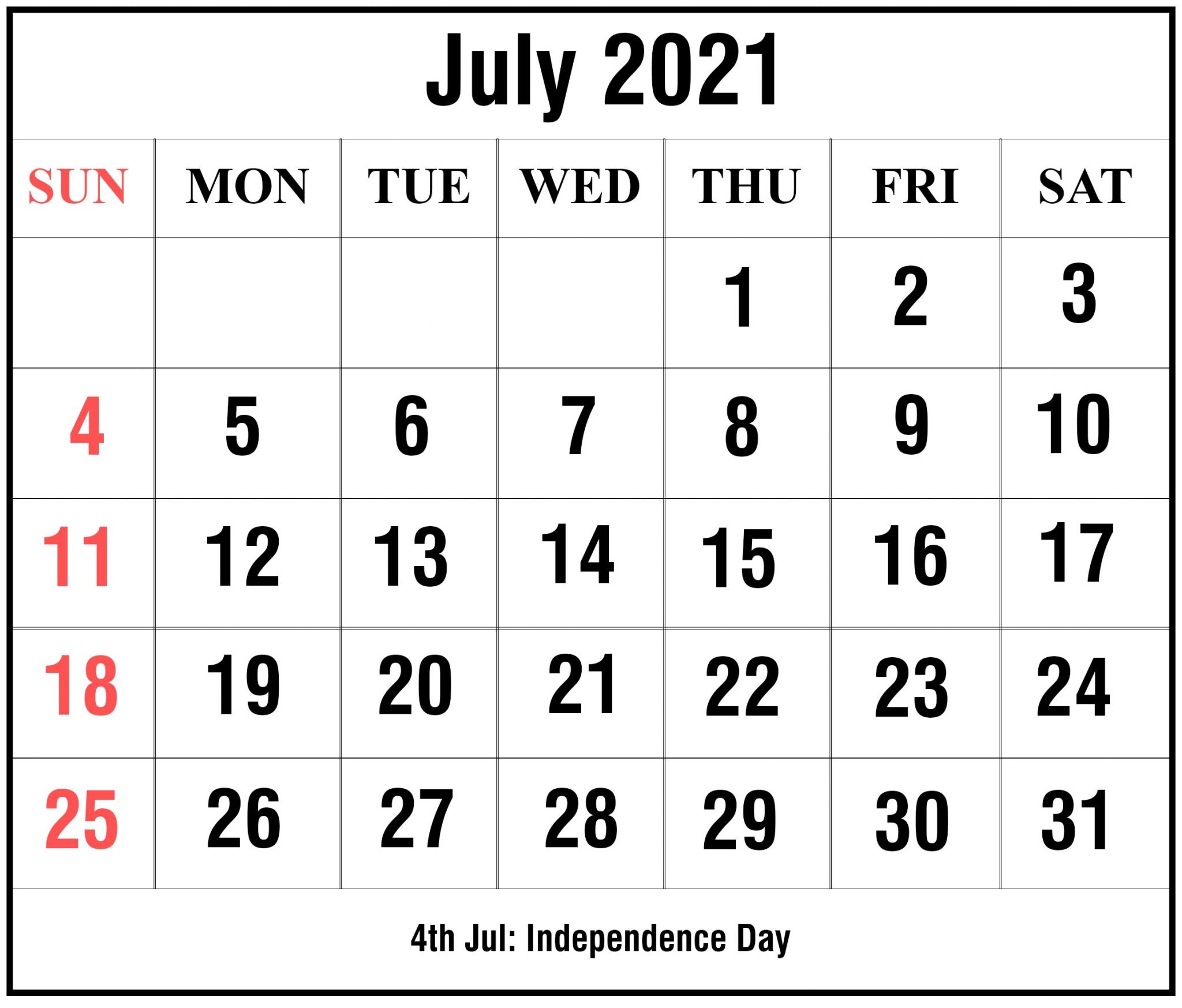 Printable 2021 July Calendar