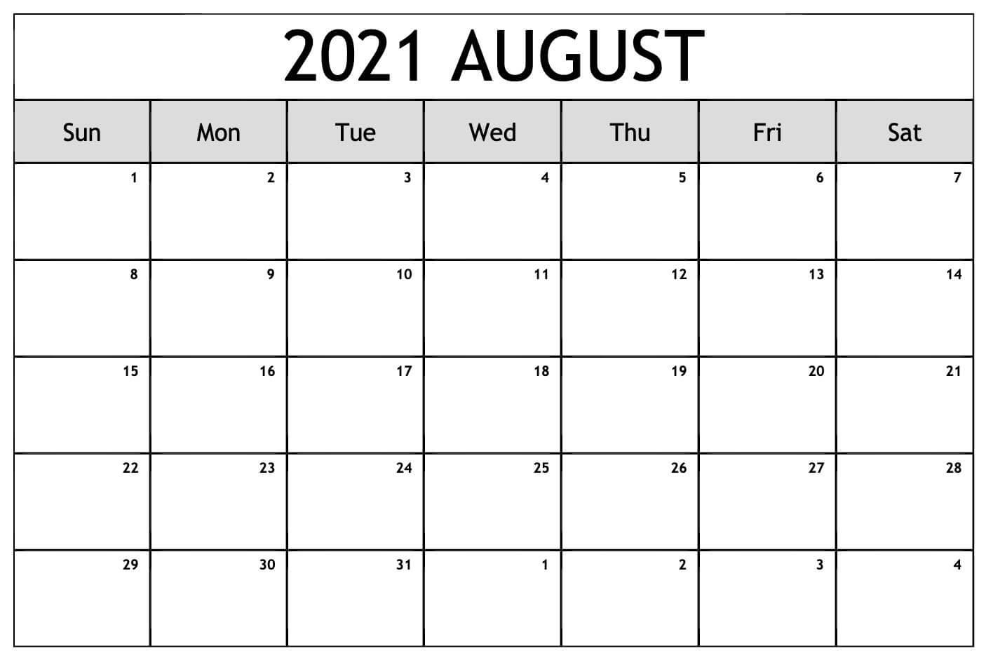 August 2021 Calendar Australia