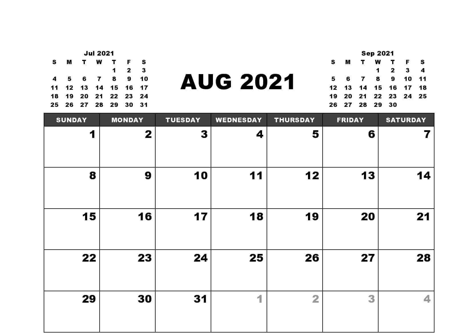 August 2021 Calendar Philippines