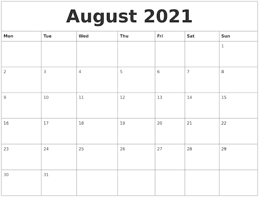August 2021 Calendar Printable Templates