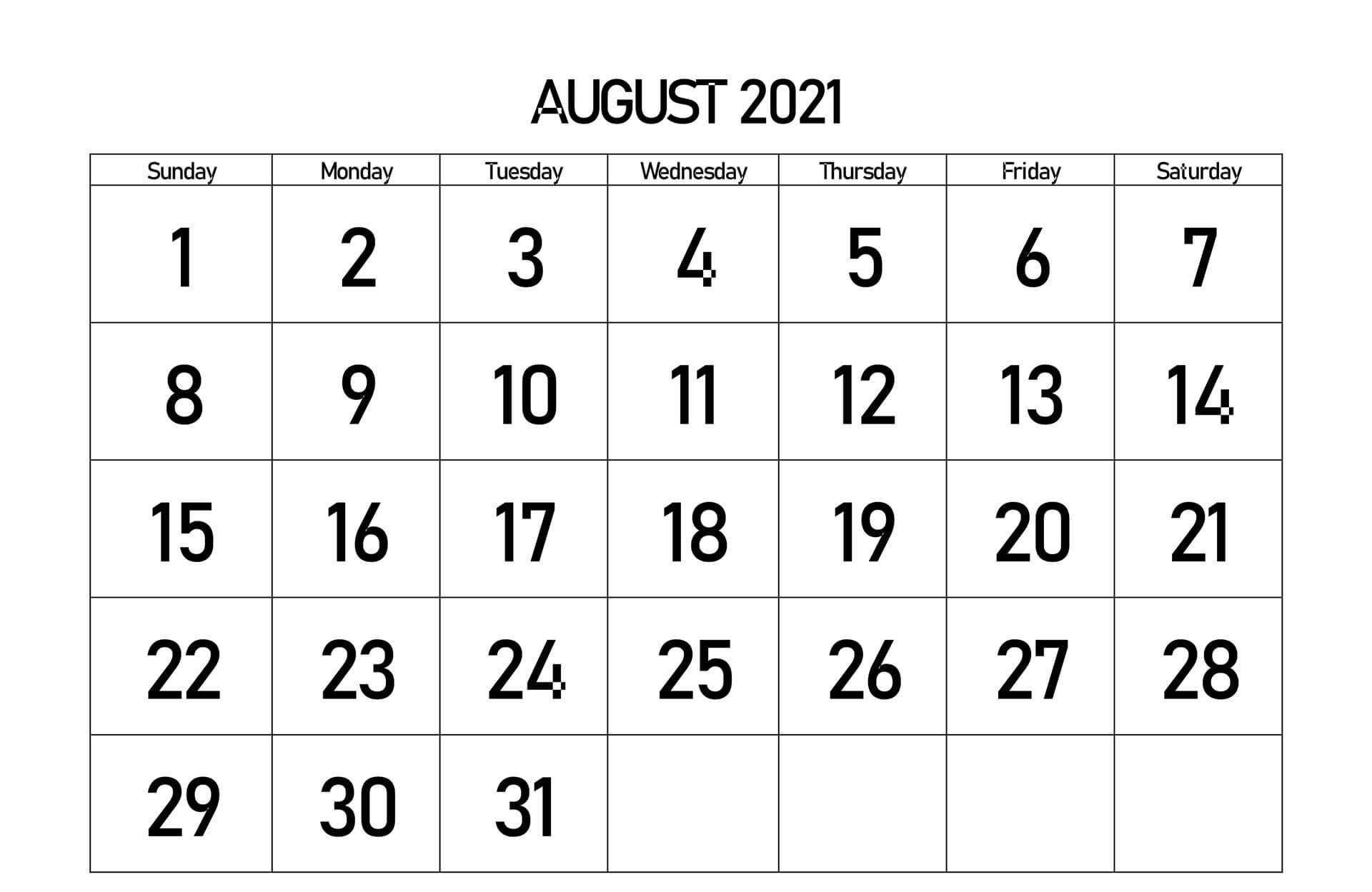 August 2021 Calendar SA
