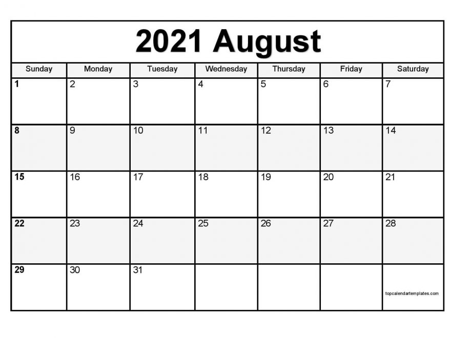 August Calendar 2021 Printable Template