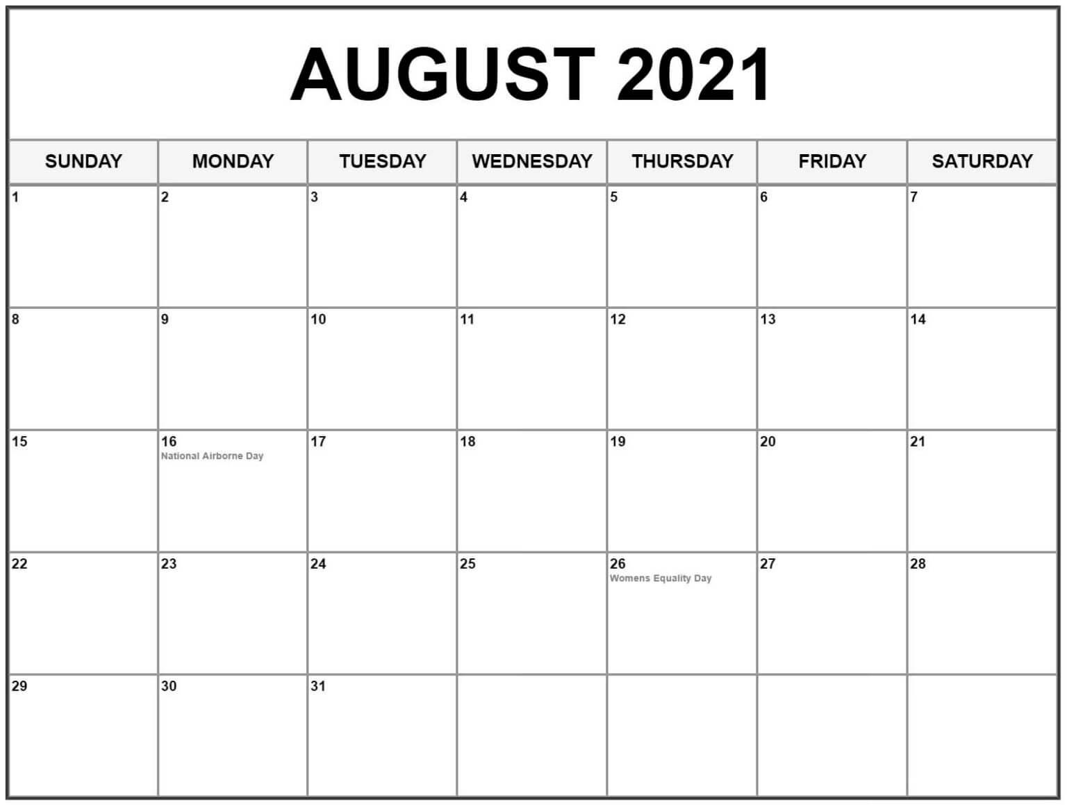 Editable August 2021 Calendar Templates
