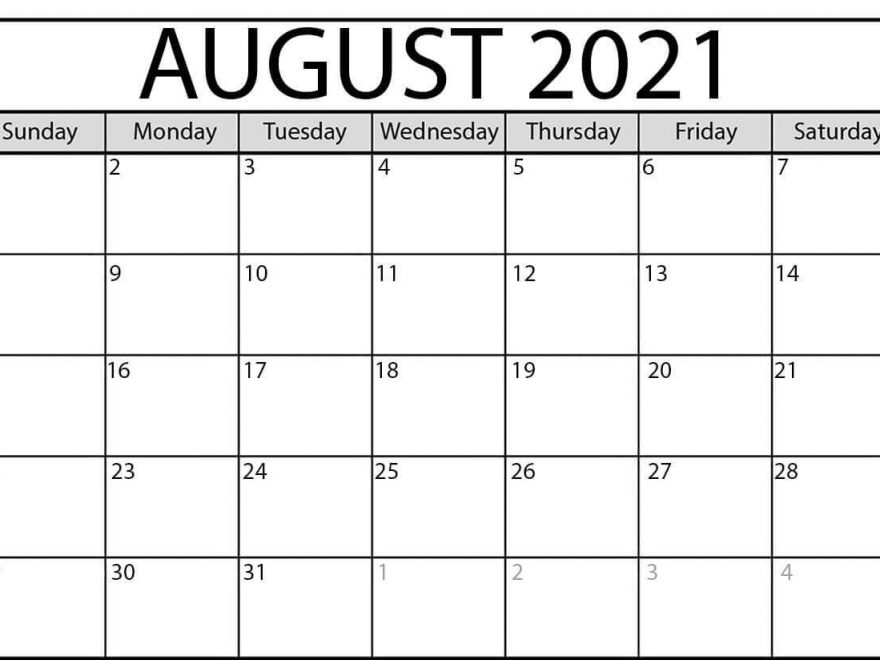 Free August 2021 Calendar PDF
