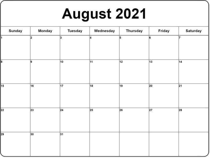 Free August 2021 Calendar Template Editable