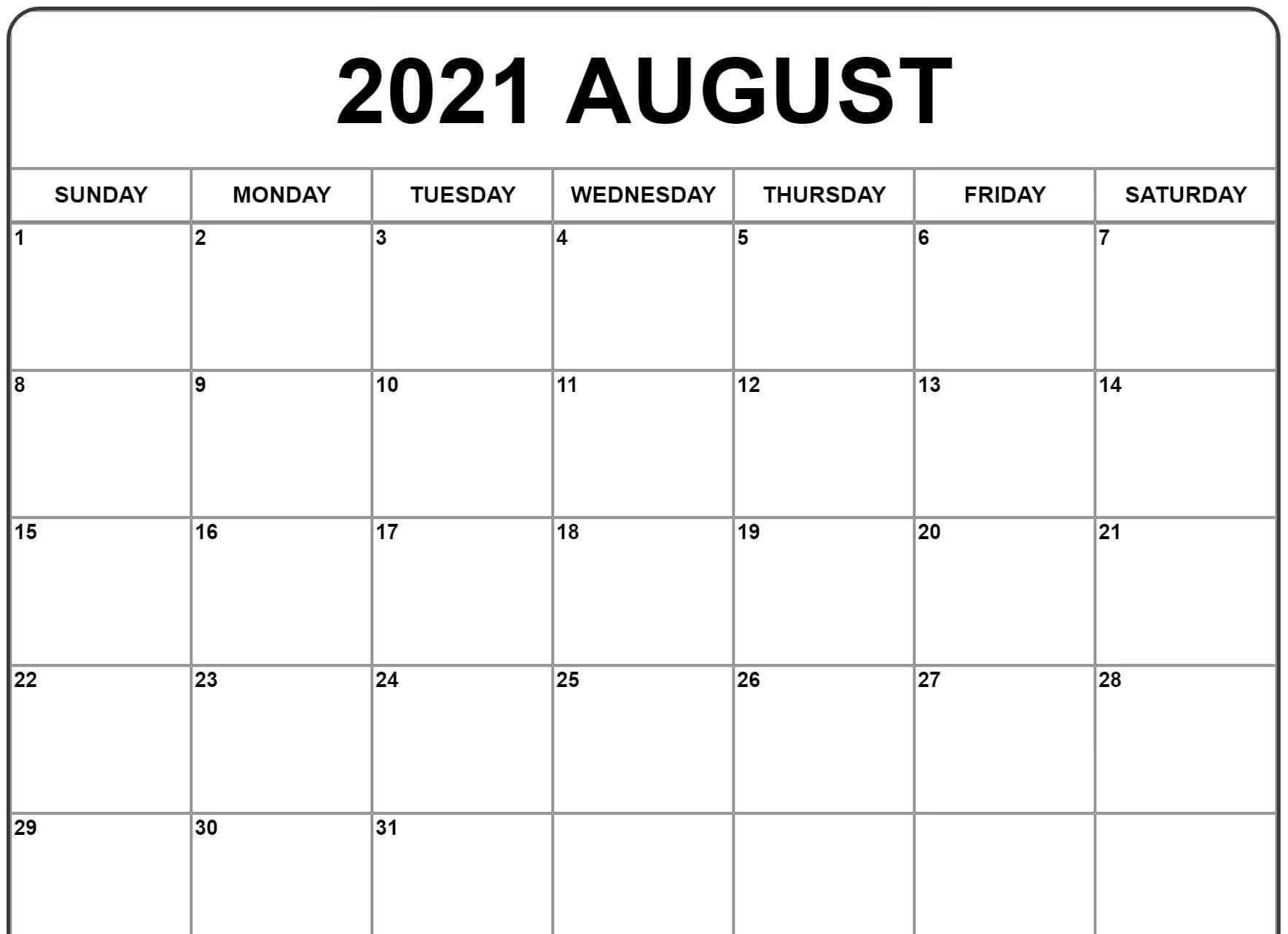 Free August 2021 Calendar Word