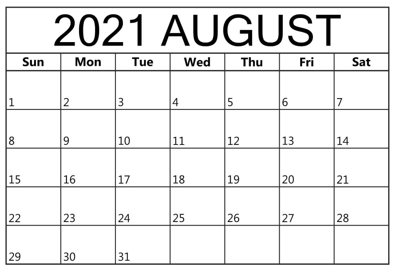 Free August Calendar 2021 Template