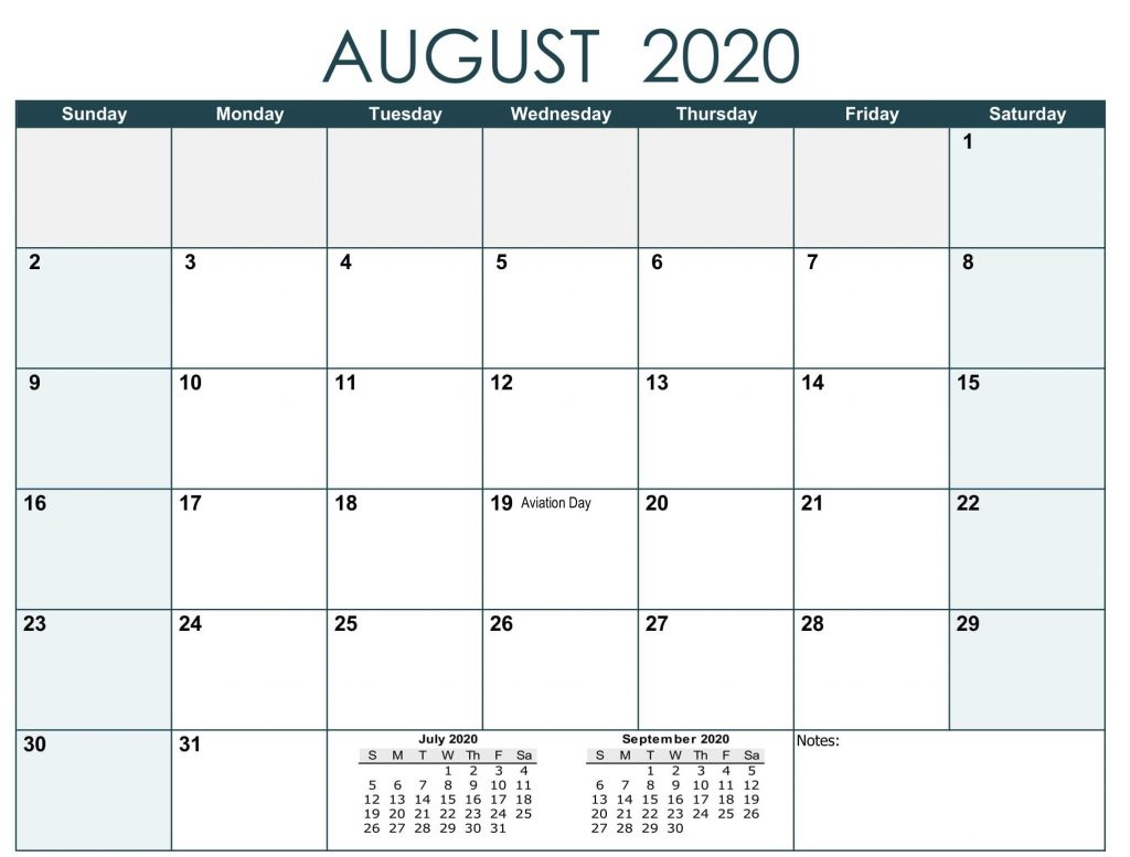 August 2020 Calendar with Holidays USA