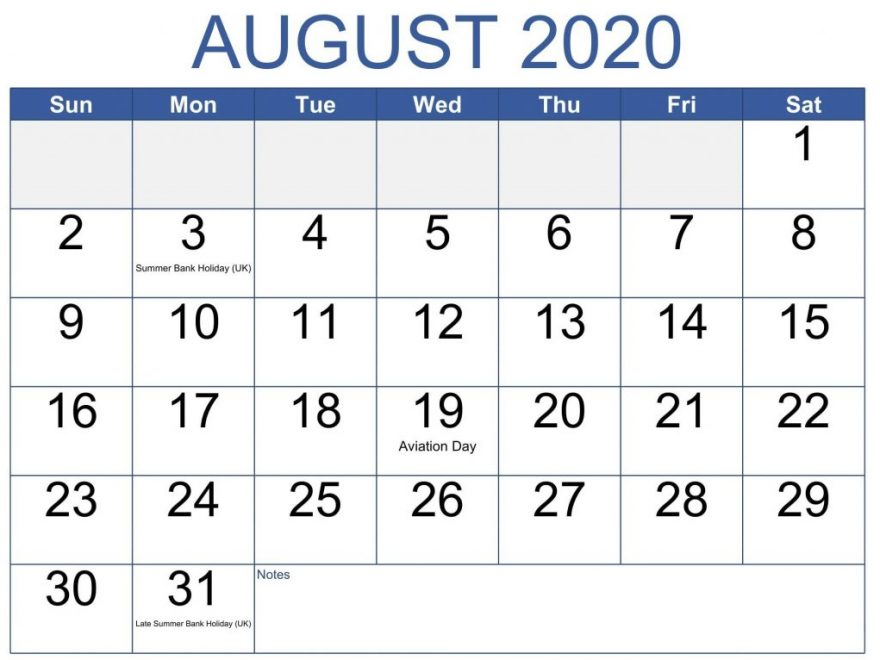 August 2020 Calendar With Holidays Printable List