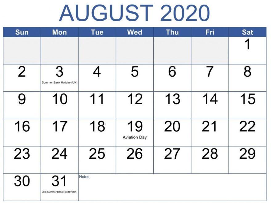 August 2020 Calendar With Holidays Printable List