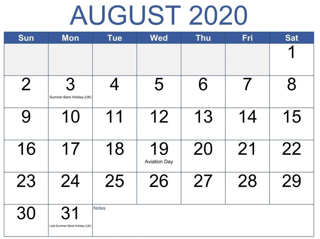 August 2020 Calendar Holidays