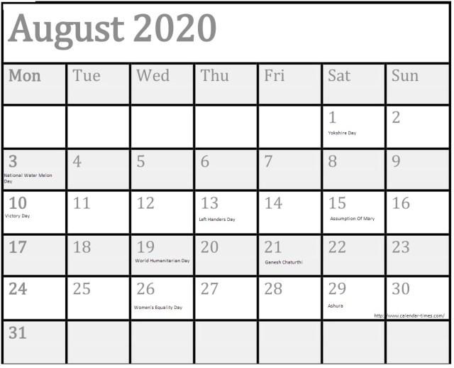 August 2020 Holidays Calendar