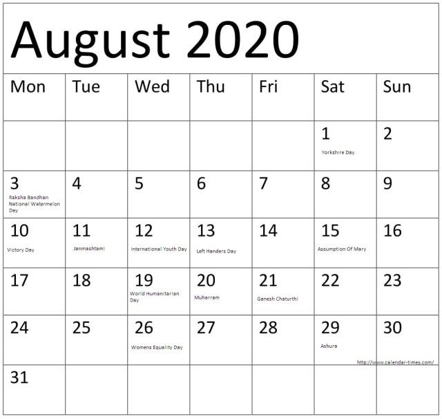 August Calendar 2020 with Holidays US, UK, Canada