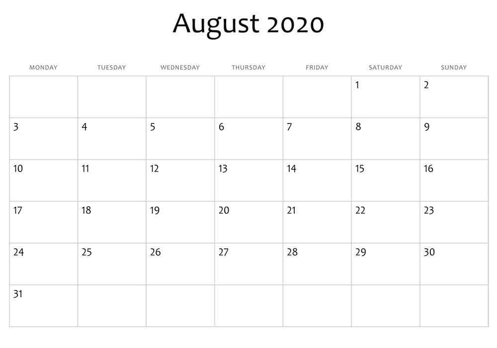 August 2020 Holiday Calendar
