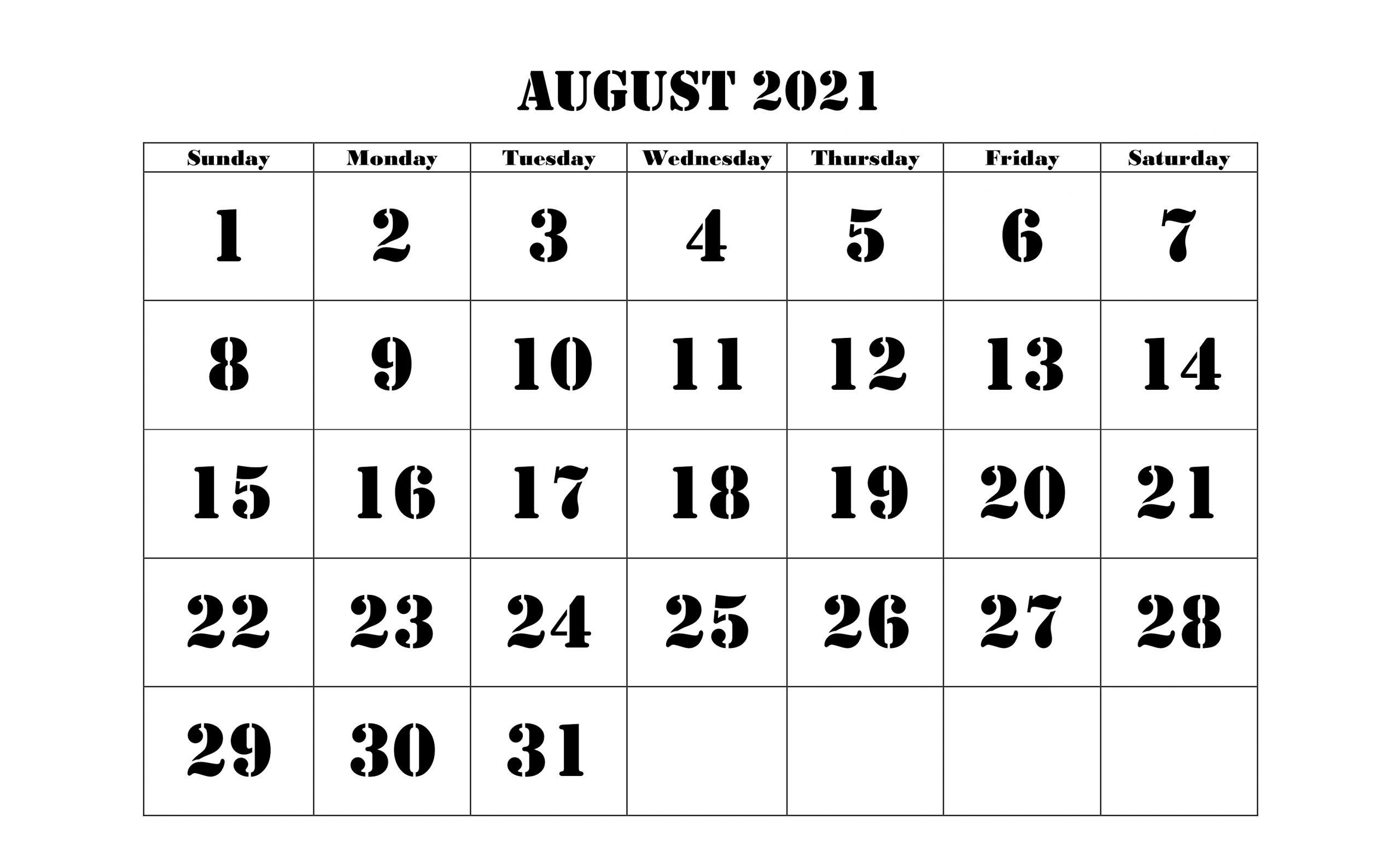 August 2021 Calendar Holidays