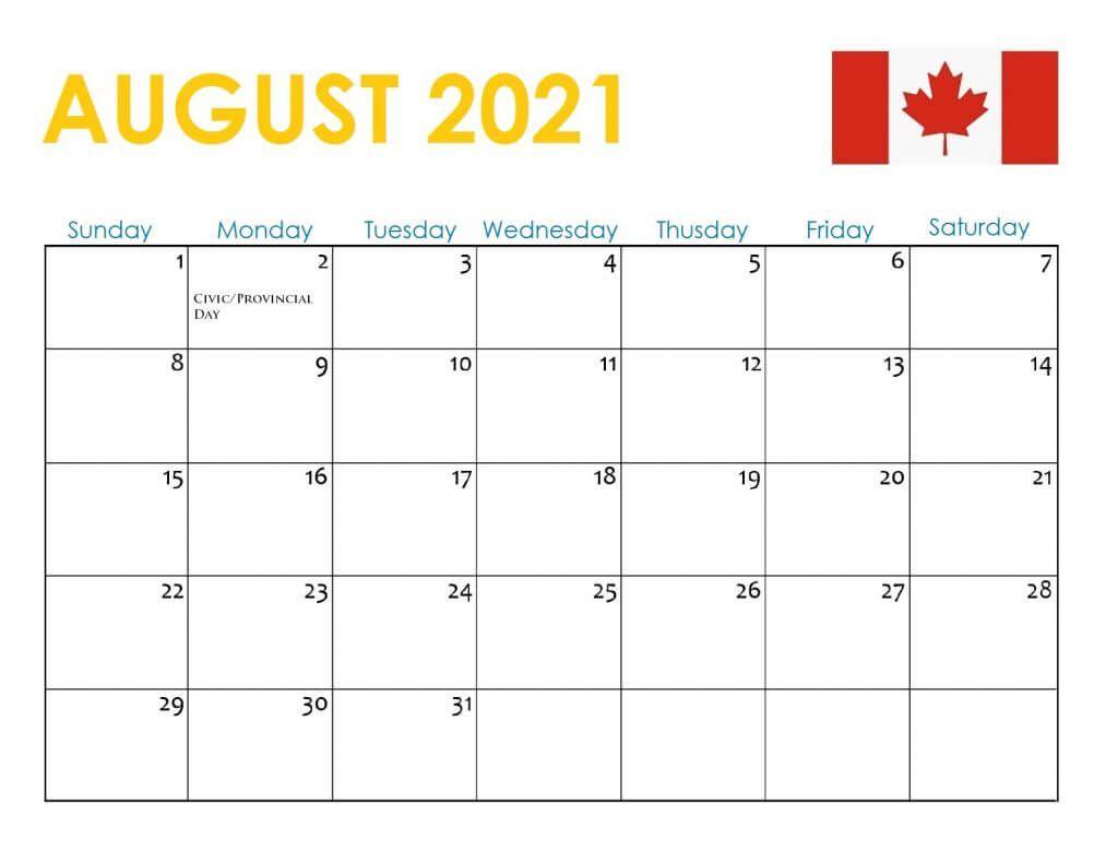 August 2021 Calendar with Holidays Canada