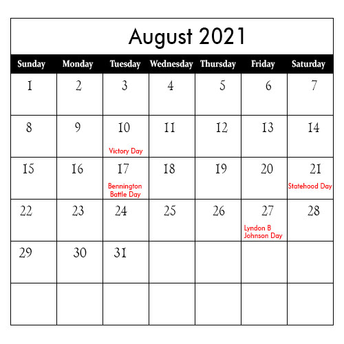 August 2021 Calendar with Holidays US