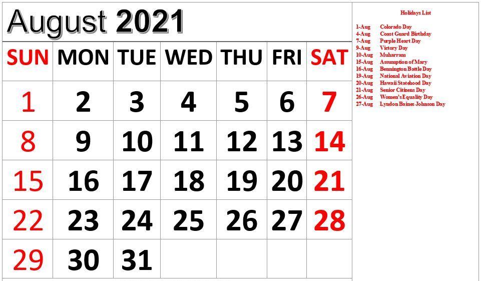 August 2021 Holidays Calendar