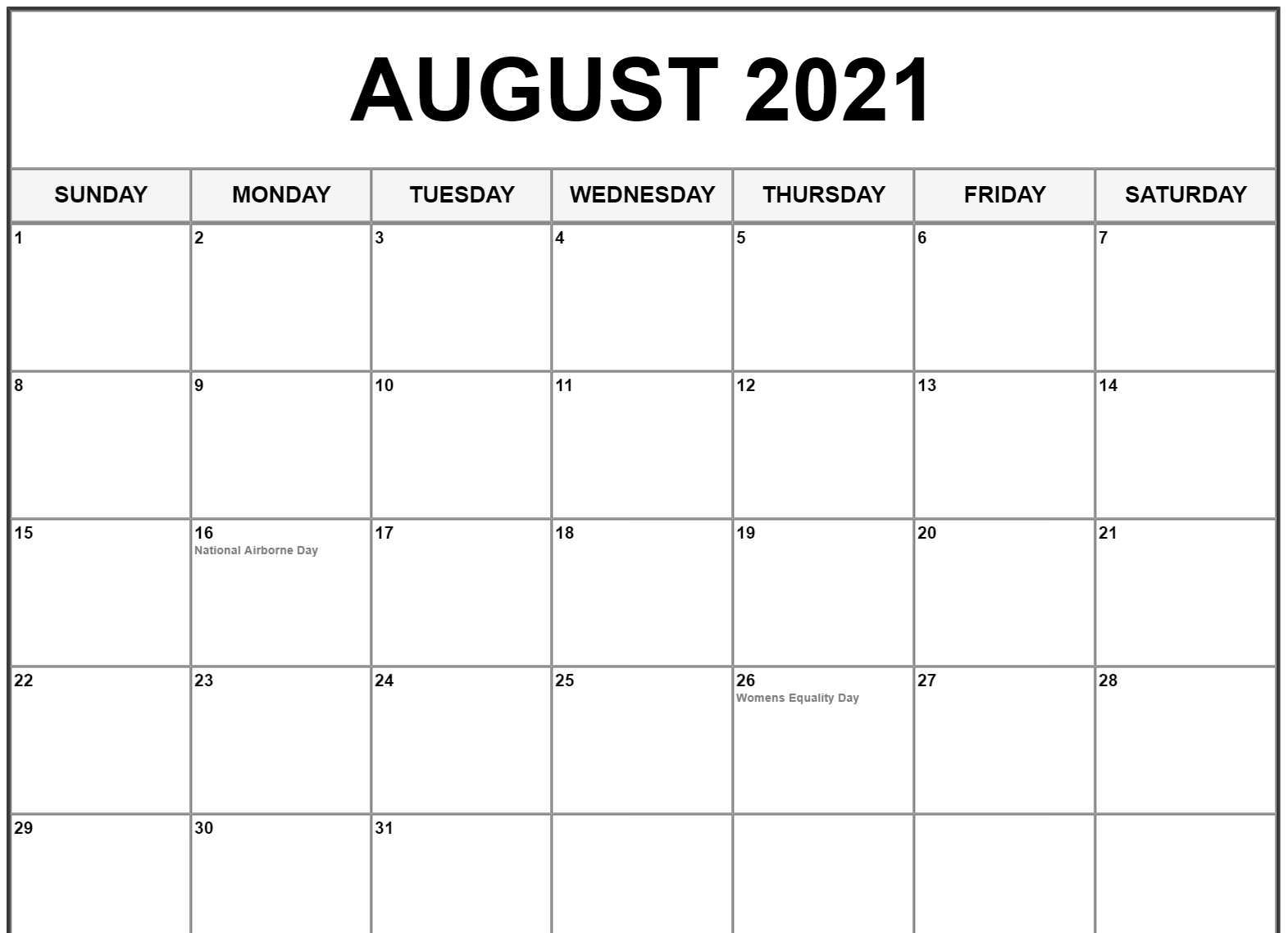 August Calendar 2021 With Holidays US UK Canada