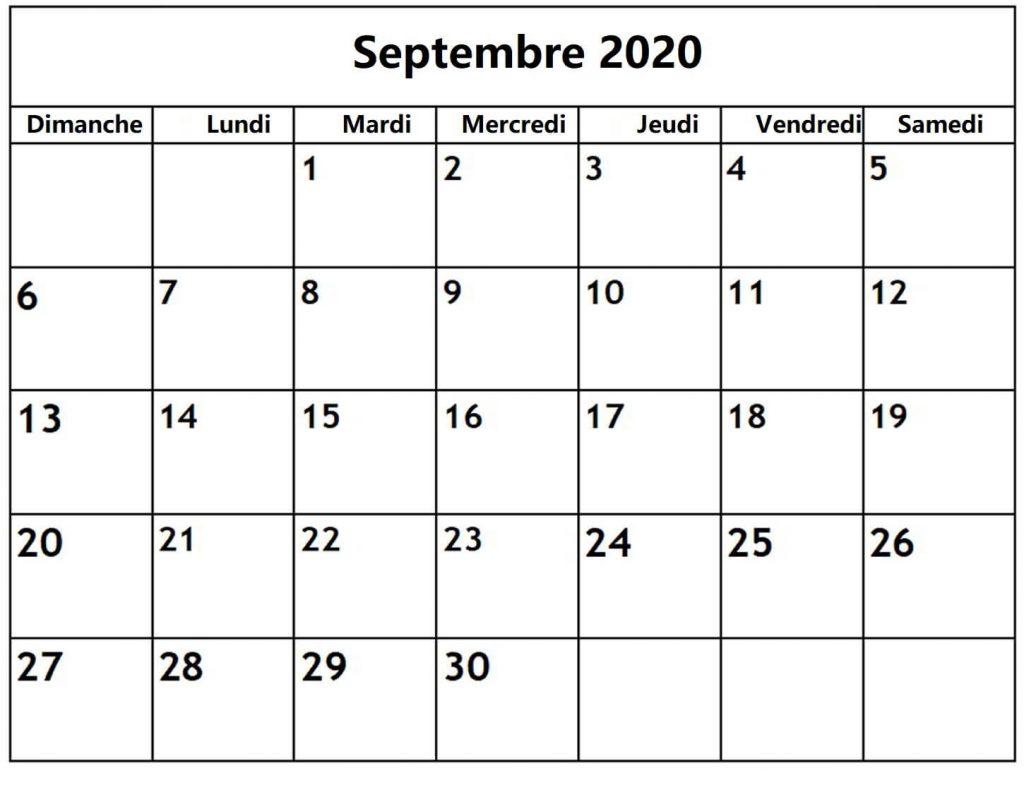 Calendrier Septembre 2020 A Imprimer Gratuit