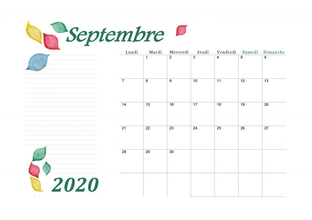 Calendrier Septembre 2020 Design Aquarelle Paysage
