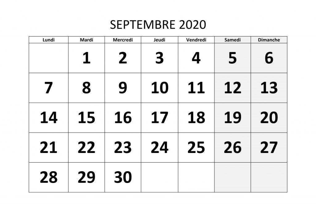 Calendrier Septembre 2020 Modele