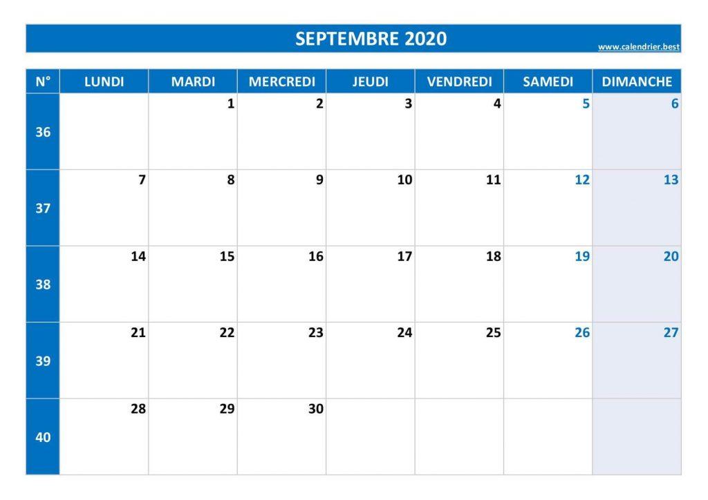 Calendrier Septembre 2020 Semaine