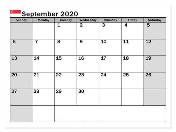 Drucken Kalender September 2020 Zum Ausdrucken