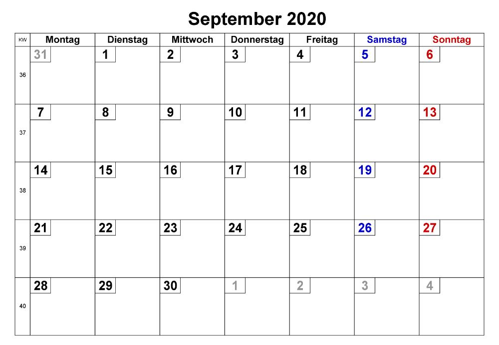 Kalender Fur September 2020
