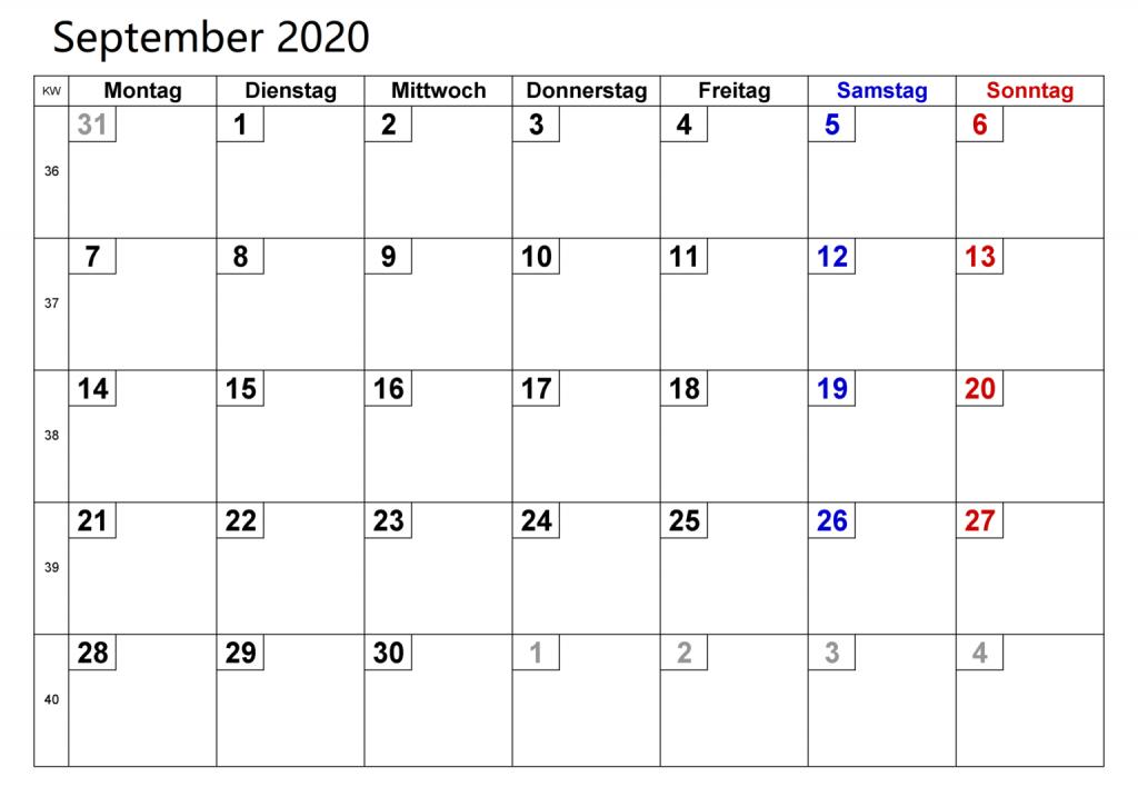 Kalender Monat September 2020 Zum Ausdrucken