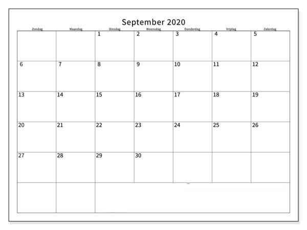 Kalender September 2020 Drucken