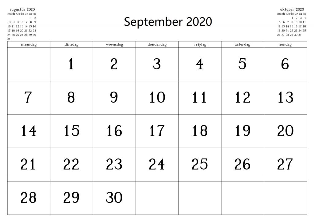 Kalender September 2020 Zum Ausdrucken Kostenlos