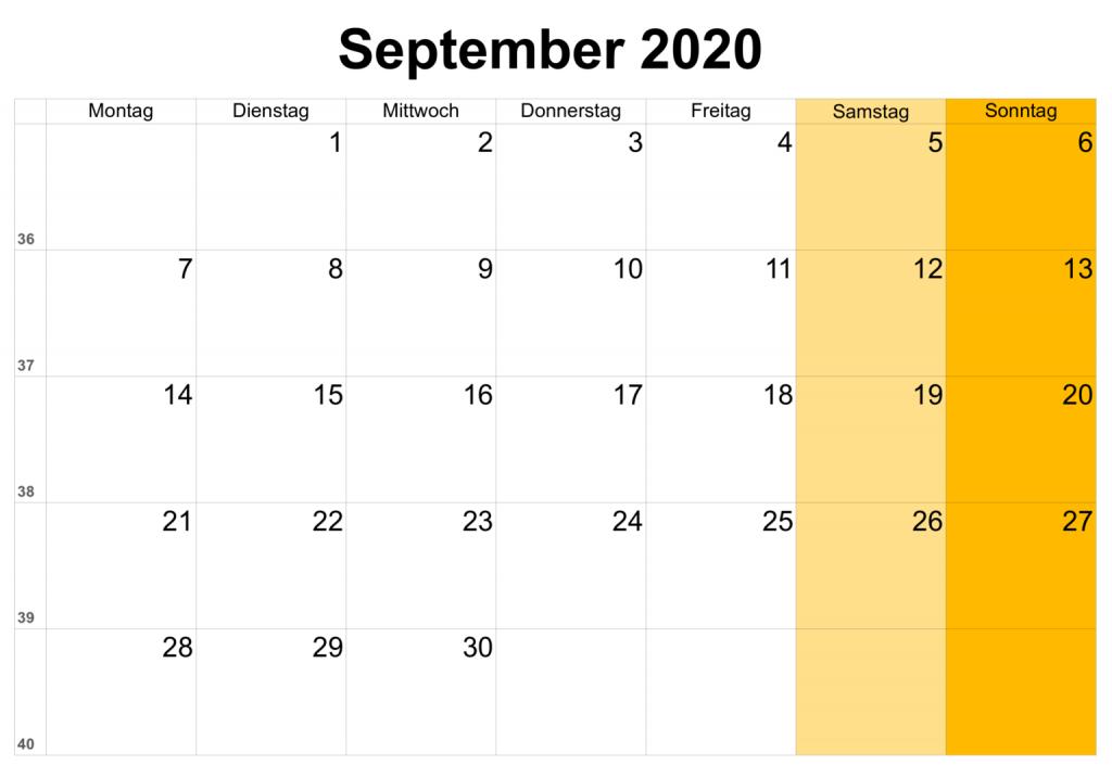 Kalender September 2020 Zum Ausdrucken PDF