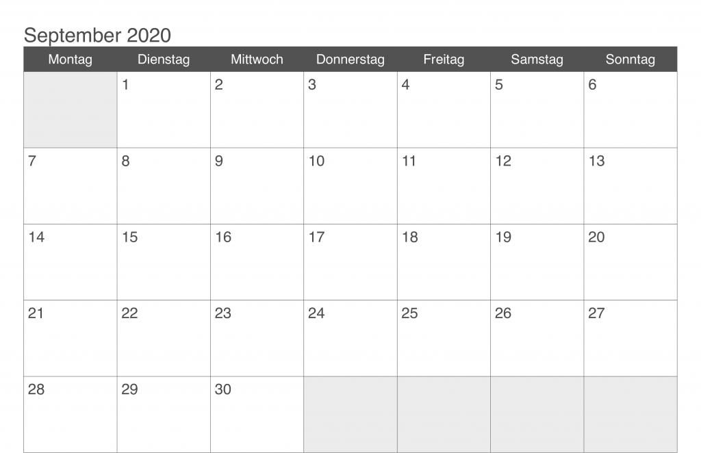 Monatskalender September 2020