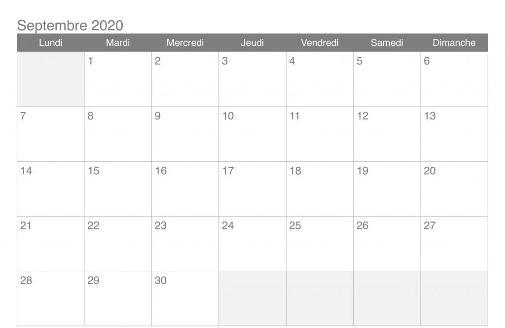 Septembre Calendrier 2020