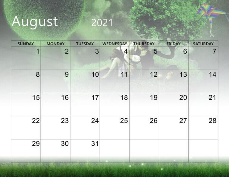 Cute August 2021 Calendar PDF