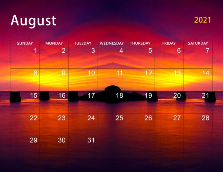 Free Cute August 2021 Floral Calendar