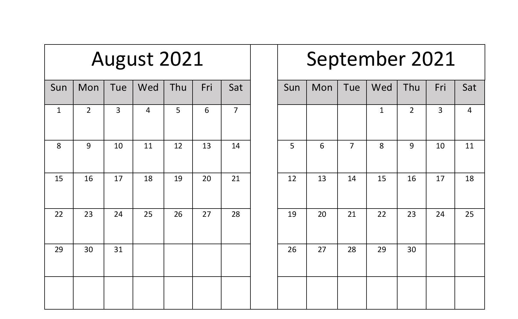 2021 August September Calendar